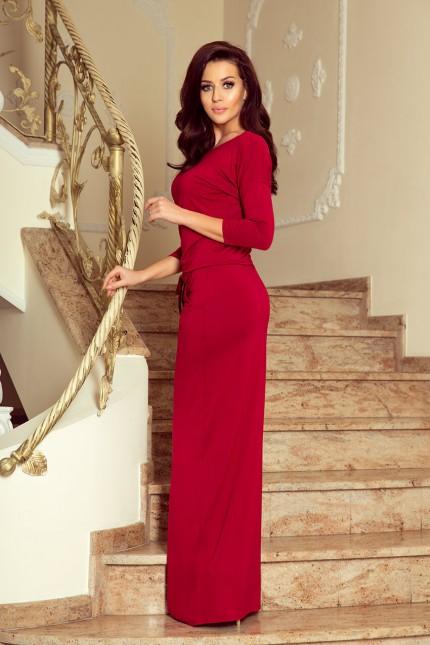 Дълга спортно елегантна рокля в бордо (R9975)