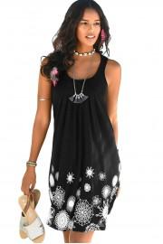 Удобна плажна рокля в черно (R9982)