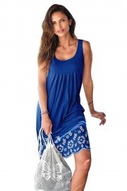 Удобна лятна плажна рокля в синьо (R9983)