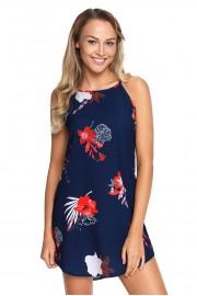 Нежна къса лятна рокля в тъмно синьо с флорални мотиви (R9986)