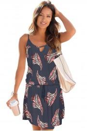 Къса лятна ежедневна рокля с флорални мотиви (R9987)
