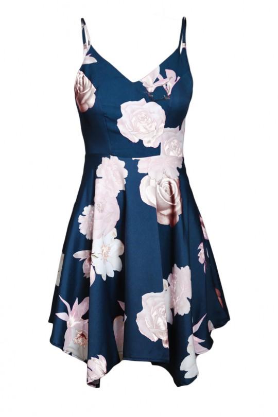 Асиметрична лятна рокля в тъмно синьо (R9988)