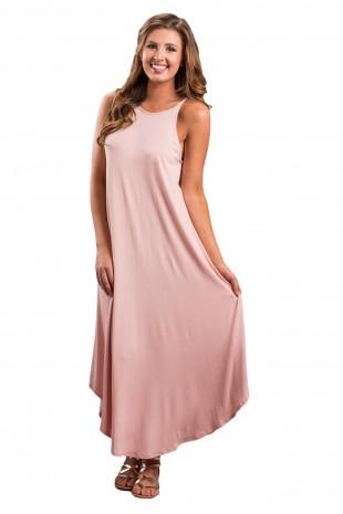 Дълга розова ежедневна рокля (R9989)