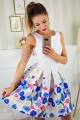 Красива лятна разкроена рокля в бяло с флорален принт (RO99036)