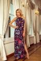 Дълга лятна рокля с лилав флорален принт (RO99041)