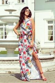 Дълга лятна рокля с червено-бял флорален принт (RO99042)