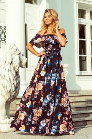 Дълга лятна рокля с паднали рамене в красив флорален принт (RO99044)