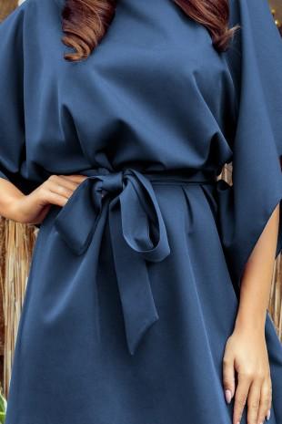 Елегантна ежедневна рокля тип пончо с колан в синьо (RO99152)