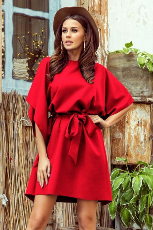 Червена елегантна ежедневна рокля тип пончо с колан (RO99153)