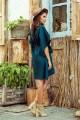 Зелена елегантна ежедневна рокля тип пончо с колан (RO99154)