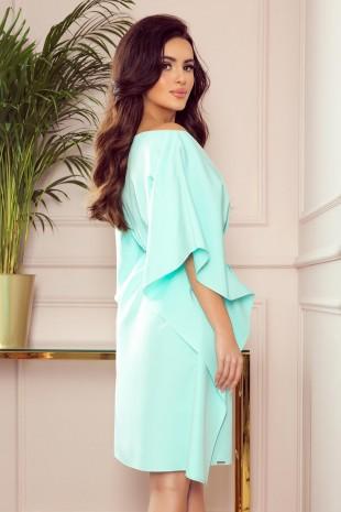 Елегантна ежедневна рокля тип пончо в цвят мента (RO99155)