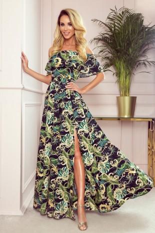 Дълга лятна рокля с паднали рамене в модерен принт (RO99162)