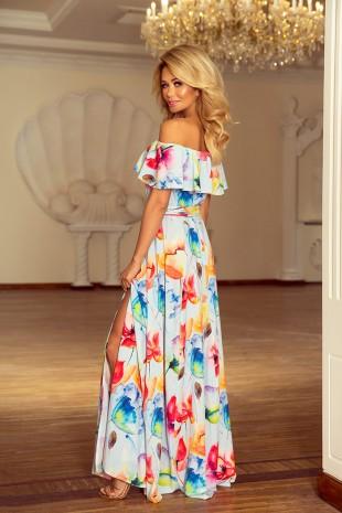 Дълга лятна рокля с паднали рамене на цветя (RO99163)