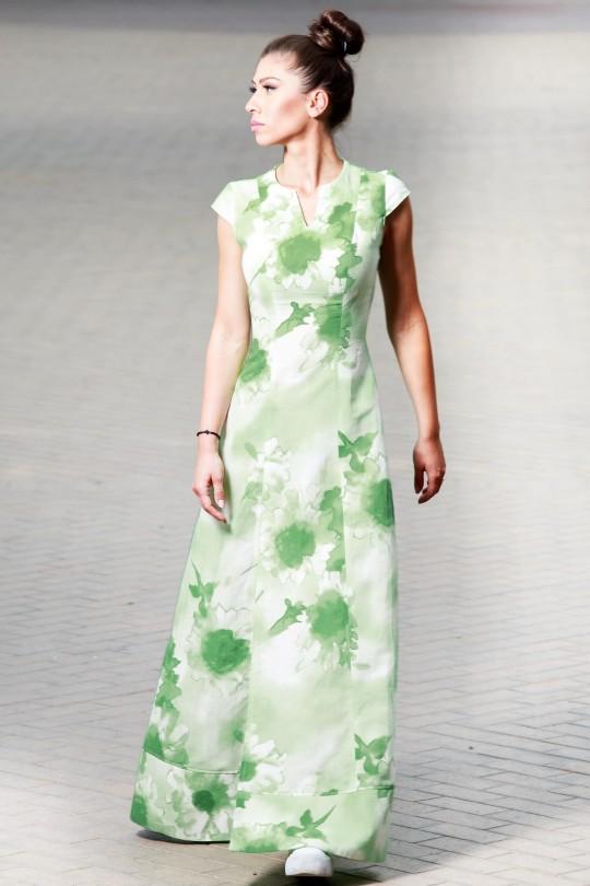 Дълга лятна ленена рокля в зелени мотиви (RO99171)