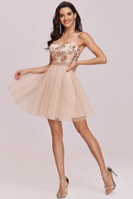 Къса официална рокля с пайети и тюлена пола в златно (RO99255)