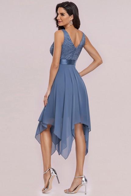 Официална рокля с V-образно деколте и асиметрична пола (RO99230)