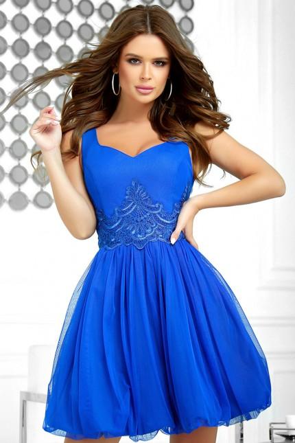 Официална къса рокля с тюлена пола в кралско синьо (RO99234)