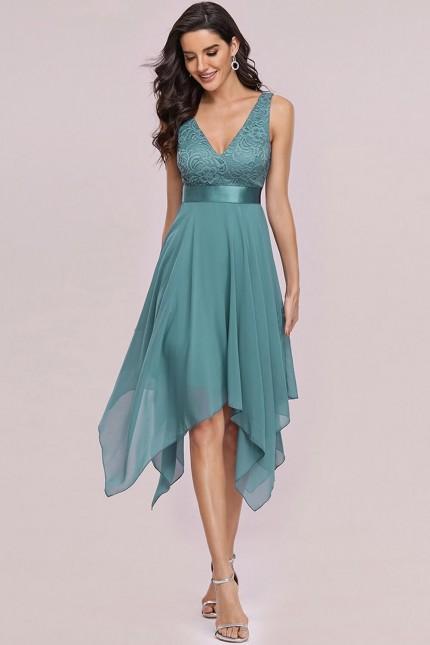Официална рокля с асиметрична пола в цвят дъсти блу (RO99288)