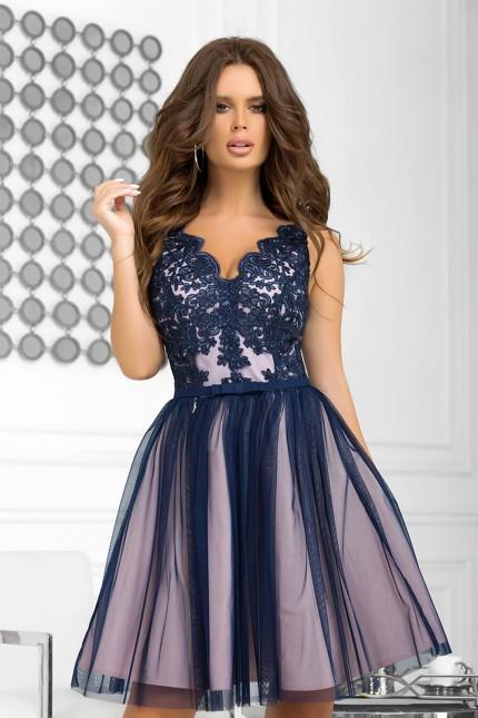 Възхитителна официална разкроена рокля в тъмно синьо и розово (RO99248)