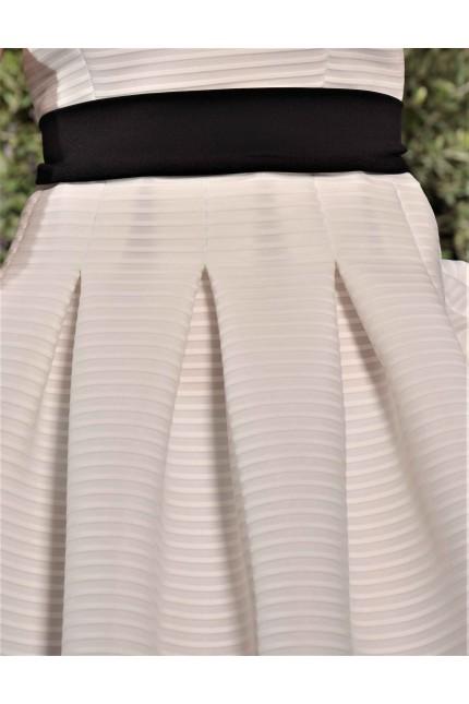 Къса разкроена официална рокля с коланче(R9631)