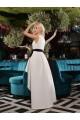 Официална бяла асиметрична рокля с коланче(R9634)
