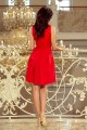 Изкусителна официална рокля в червено с дантелена горна част (R9680)