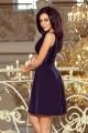 Официална рокля с изкусително деколте в тъмно синьо (R9681)