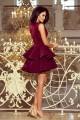 Официална разкроена рокля в цвят бордо с дантелена горна част (R9748)