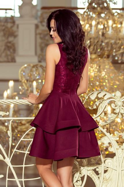 Разкроена официална рокля с дантелена горна част в цвят бордо (R9751)