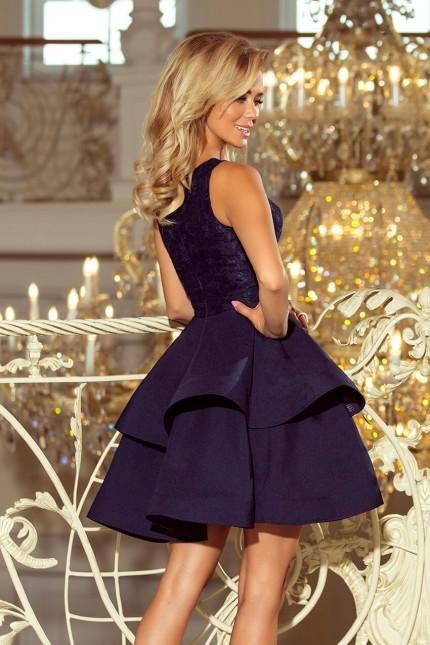 Тъмно синя официална разкроена рокля с дантела (R9752)