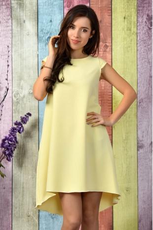 Елегантна разкроена ежедневна рокля в светло жълто (R9787)