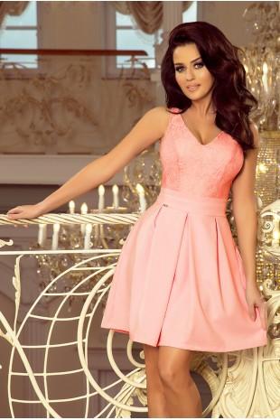Разкроена официална рокля в розово с дантелена горна част (R99001)