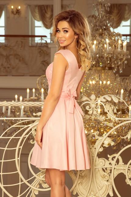 Елегантна разкроена официална рокля с колан в розово (R99002)