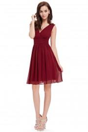 Елегантна официална разкроена рокля в бордо (R99007)