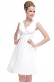 Елегантна официална разкроена рокля в бяло (R99008)