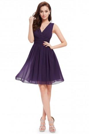 Елегантна официална разкроена рокя в тъмно лилаво (R99019)