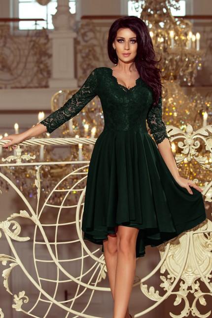 Красива официална рокля в тъмно зелено с асиметрична долна част (R9950)