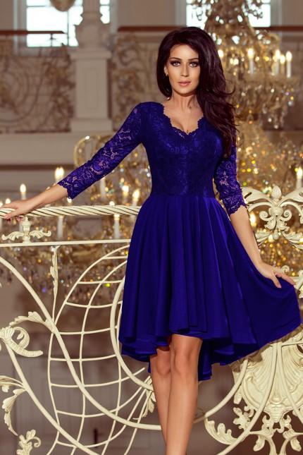 Красива официална рокля в кралско синьо с асиметрична долна част (R9954)