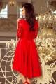 Красива официална рокля в червено с асиметрична долна част (R9961)