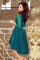 Красива официална рокля в зелено с асиметрична долна част (R9969)