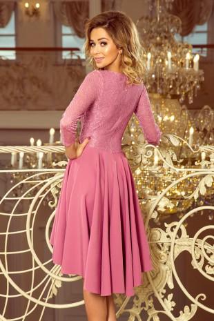 Красива асиметрична официална рокля в уникален цвят (R9994)