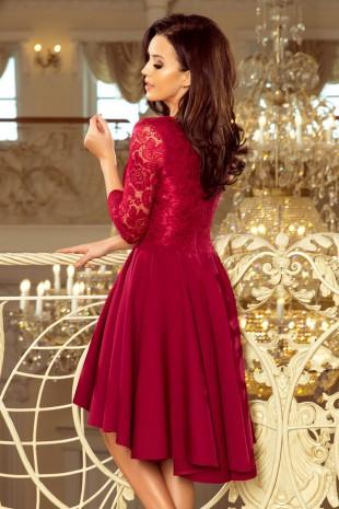 Красива асиметрична официална рокля в цвят бордо (R9995)