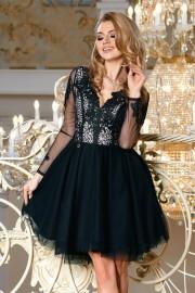 Уникална официална разкроена рокля с красива дантела в черно (RO99038)