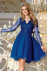 Уникална официална разкроена рокля с красива дантела в кралско синьо (RO99039)