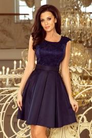 Елегантна разкроена рокля с колан в тъмно синьо (RO99043)
