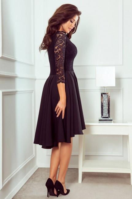 Красива официална рокля в черно с асиметрична долна част (RO99075)