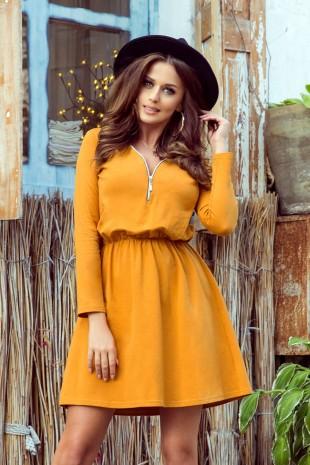 Разкроена ежедневна рокля с дълги ръкави в цвят горчица (RO99094)