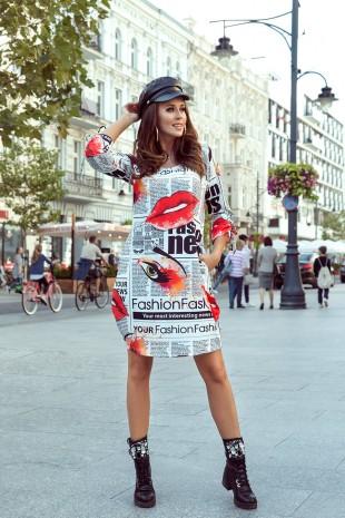 Изкушаваща ежедневна рокля с уникален принт и джобове (RO99095)