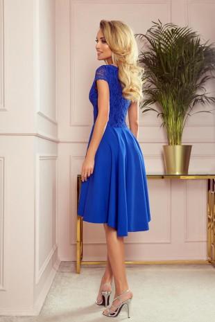 Официална асиметрична рокля в кралско синьо с късо ръкавче (RO99142)