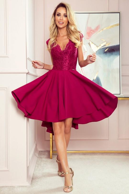 Официална асиметрична рокля в  бордо с късо ръкавче (RO99141)
